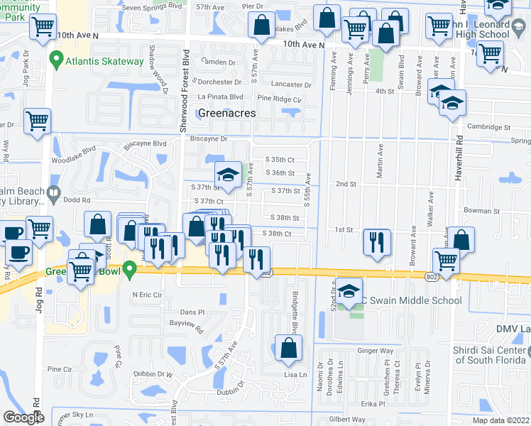 map of restaurants, bars, coffee shops, grocery stores, and more near 5649 South 38th Street in Greenacres