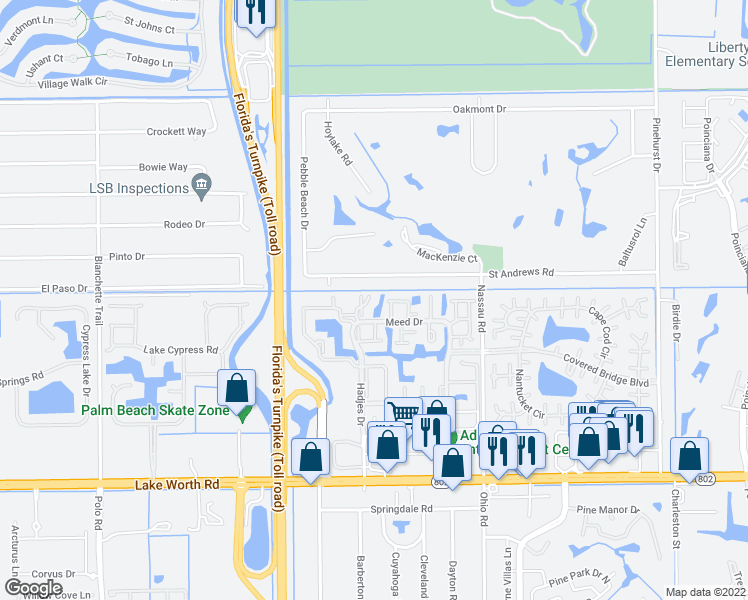 map of restaurants, bars, coffee shops, grocery stores, and more near 3528 Featherwood Drive in Lake Worth