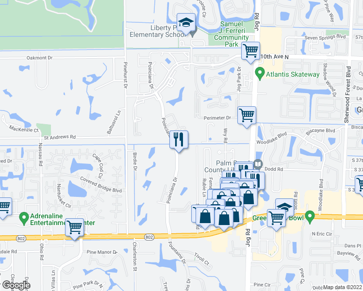 map of restaurants, bars, coffee shops, grocery stores, and more near 3959 Via Poinciana in Lake Worth