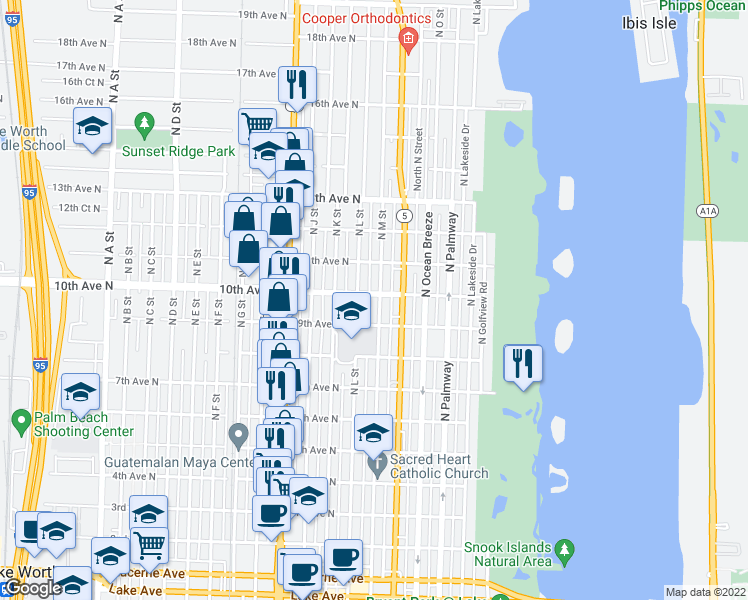 map of restaurants, bars, coffee shops, grocery stores, and more near 927 North M Street in Lake Worth