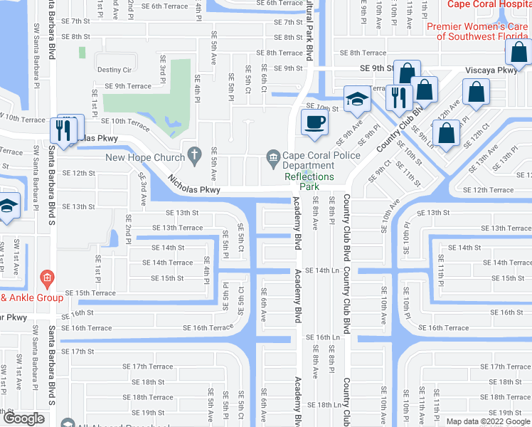 map of restaurants, bars, coffee shops, grocery stores, and more near 1301 Southeast 6th Avenue in Cape Coral