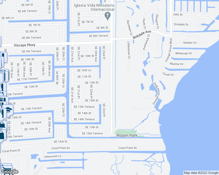 map of restaurants, bars, coffee shops, grocery stores, and more near 1214 Southeast 24th Avenue in Cape Coral