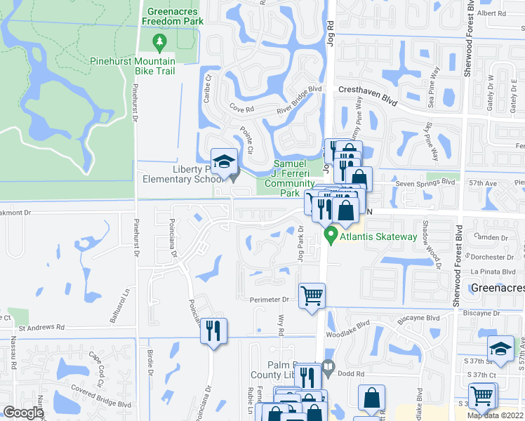 map of restaurants, bars, coffee shops, grocery stores, and more near 6636-6698 Constitution Way in Greenacres