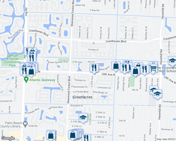 map of restaurants, bars, coffee shops, grocery stores, and more near 3604 Inlet Circle in Greenacres