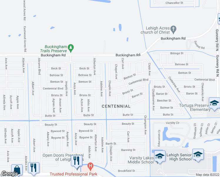 map of restaurants, bars, coffee shops, grocery stores, and more near Centennial Blvd & Chaplin Ave in Lehigh Acres