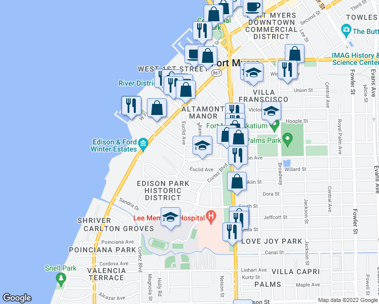 map of restaurants, bars, coffee shops, grocery stores, and more near 2325 Euclid Avenue in Fort Myers
