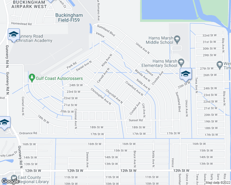 map of restaurants, bars, coffee shops, grocery stores, and more near 2404 Conroy Avenue North in Lehigh Acres
