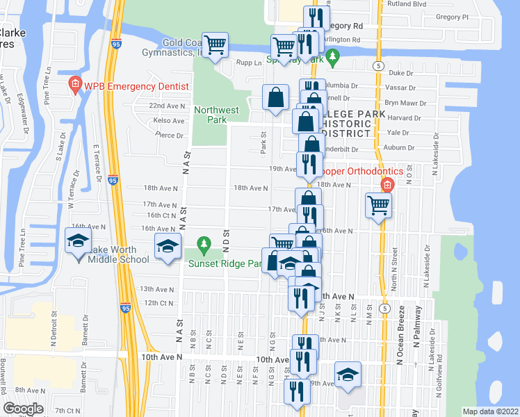 map of restaurants, bars, coffee shops, grocery stores, and more near 1201 16th Avenue North in Lake Worth