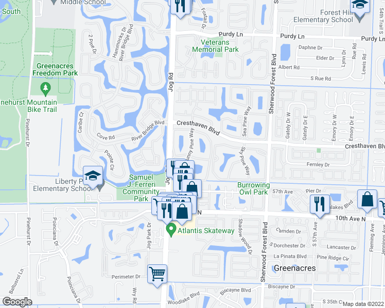 map of restaurants, bars, coffee shops, grocery stores, and more near 715 Sunny Pine Way in Greenacres
