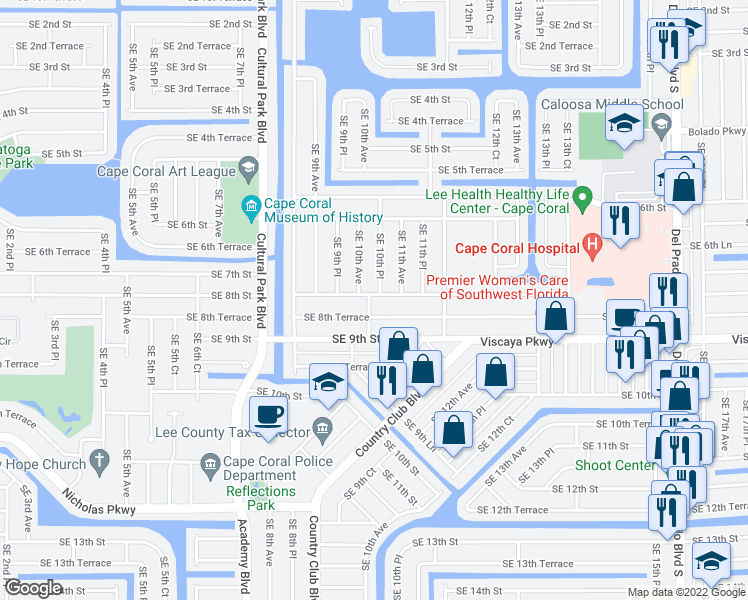 map of restaurants, bars, coffee shops, grocery stores, and more near 1004 Southeast 8th Street in Cape Coral
