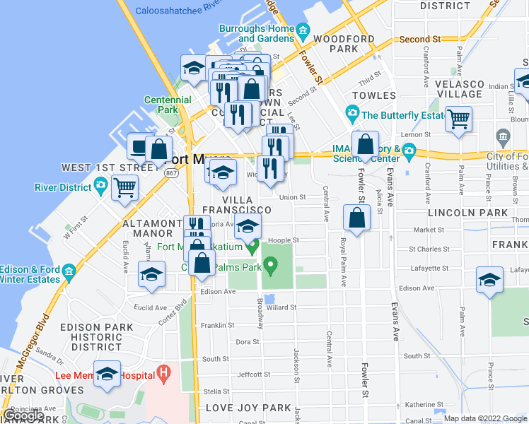 map of restaurants, bars, coffee shops, grocery stores, and more near 2084 Broadway in Fort Myers