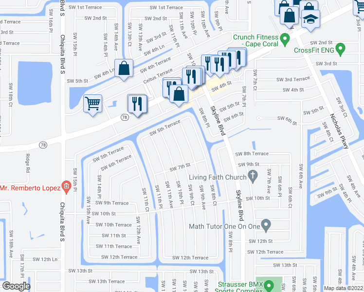 map of restaurants, bars, coffee shops, grocery stores, and more near 615 Southwest 9th Court in Cape Coral