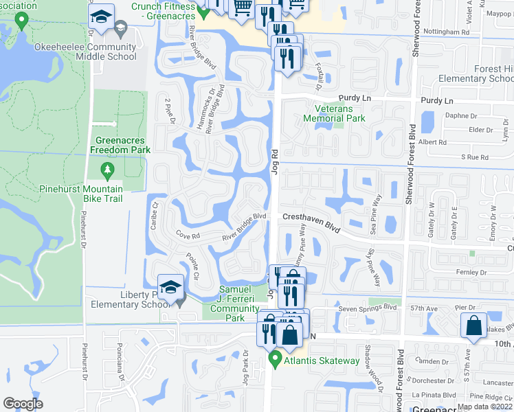 map of restaurants, bars, coffee shops, grocery stores, and more near River Bridge Boulevard in Greenacres
