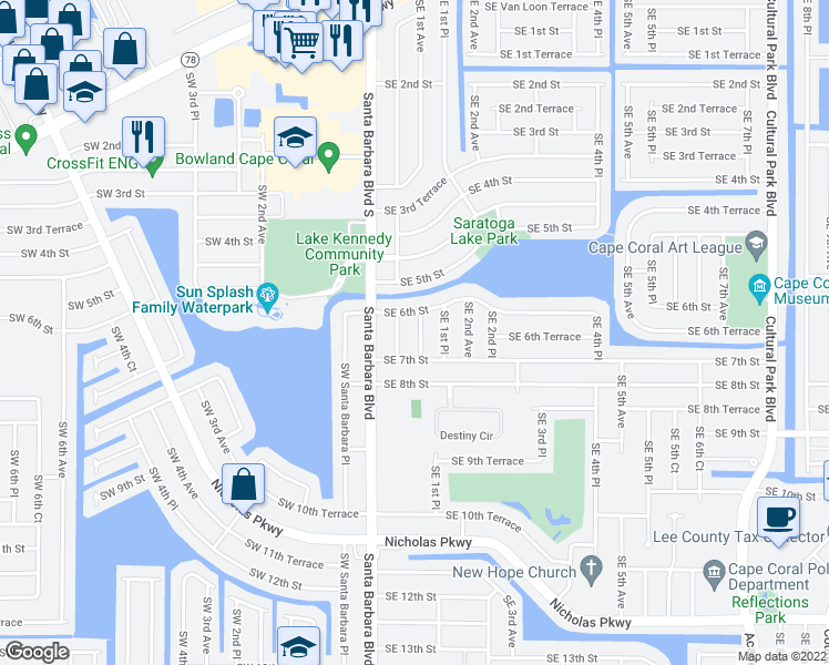 map of restaurants, bars, coffee shops, grocery stores, and more near 612 Southeast 1st Avenue in Cape Coral