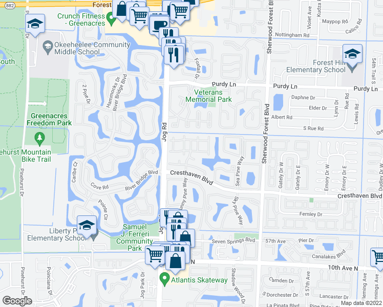 map of restaurants, bars, coffee shops, grocery stores, and more near 528 Shady Pine Way in Greenacres