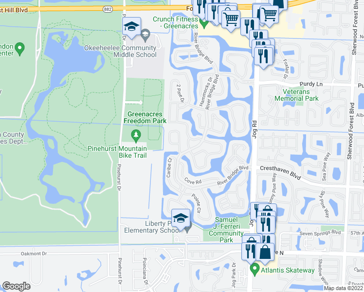 map of restaurants, bars, coffee shops, grocery stores, and more near 6677 Eagle Ridge Drive in Greenacres