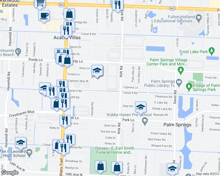 map of restaurants, bars, coffee shops, grocery stores, and more near 300 Village Green Circle South in Palm Springs