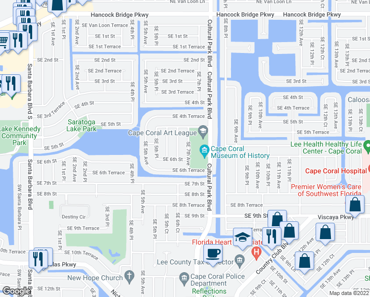 map of restaurants, bars, coffee shops, grocery stores, and more near 528 Southeast 7th Avenue in Cape Coral