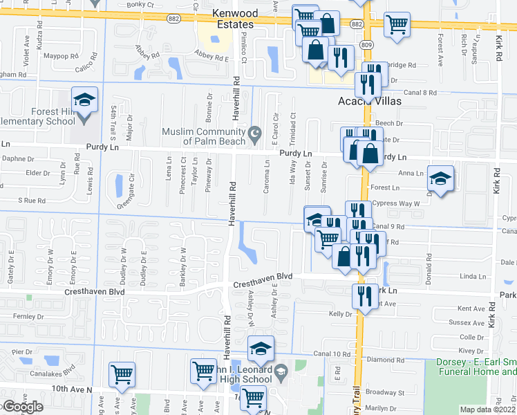 map of restaurants, bars, coffee shops, grocery stores, and more near 2459 Caroma Lane in West Palm Beach