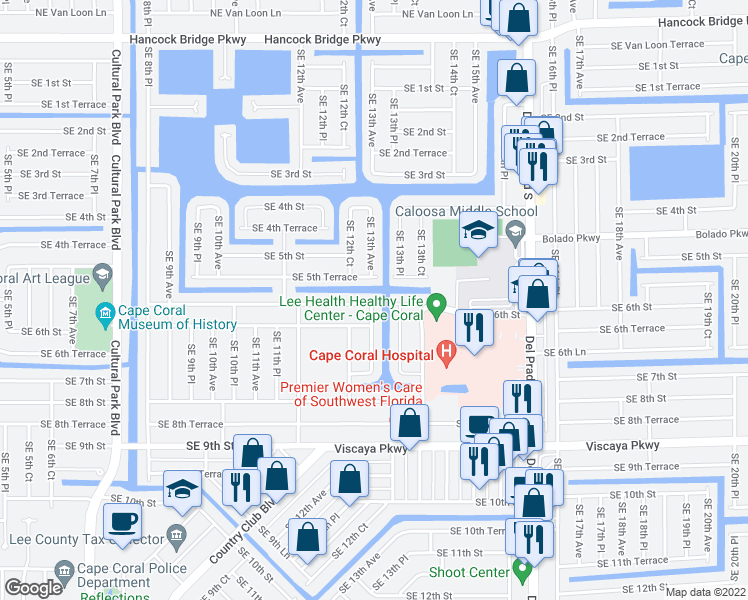 map of restaurants, bars, coffee shops, grocery stores, and more near 1303 Southeast 6th Street in Cape Coral