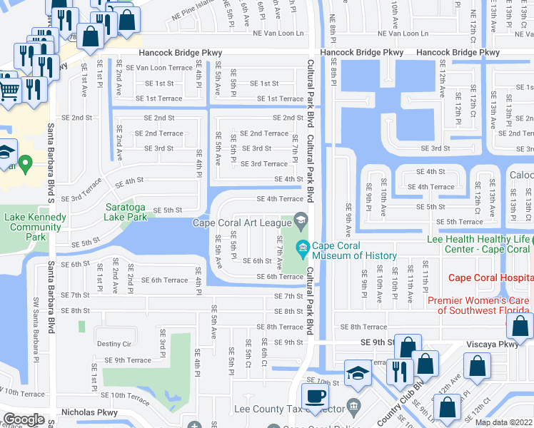 map of restaurants, bars, coffee shops, grocery stores, and more near 603 Southeast 5th Street in Cape Coral