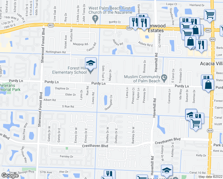 map of restaurants, bars, coffee shops, grocery stores, and more near 2300-2354 Greengate Circle in West Palm Beach