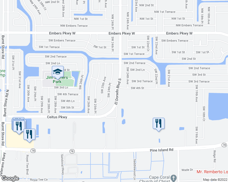 map of restaurants, bars, coffee shops, grocery stores, and more near 308 El Dorado Boulevard South in Cape Coral