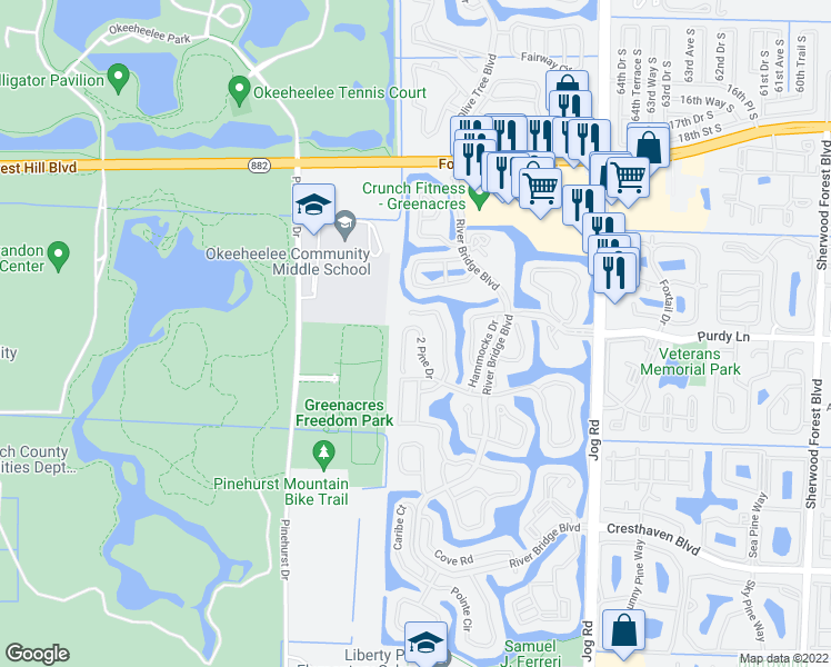 map of restaurants, bars, coffee shops, grocery stores, and more near 120 2 Pine Drive in West Palm Beach