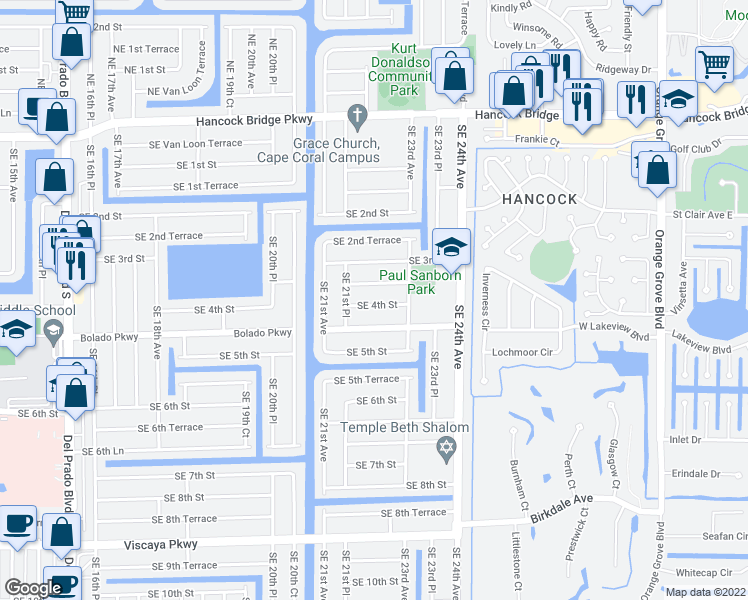 map of restaurants, bars, coffee shops, grocery stores, and more near 2201 Southeast 4th Street in Cape Coral