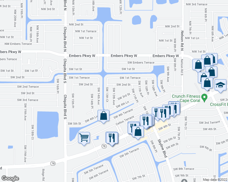 map of restaurants, bars, coffee shops, grocery stores, and more near 211 Southwest 13th Avenue in Cape Coral