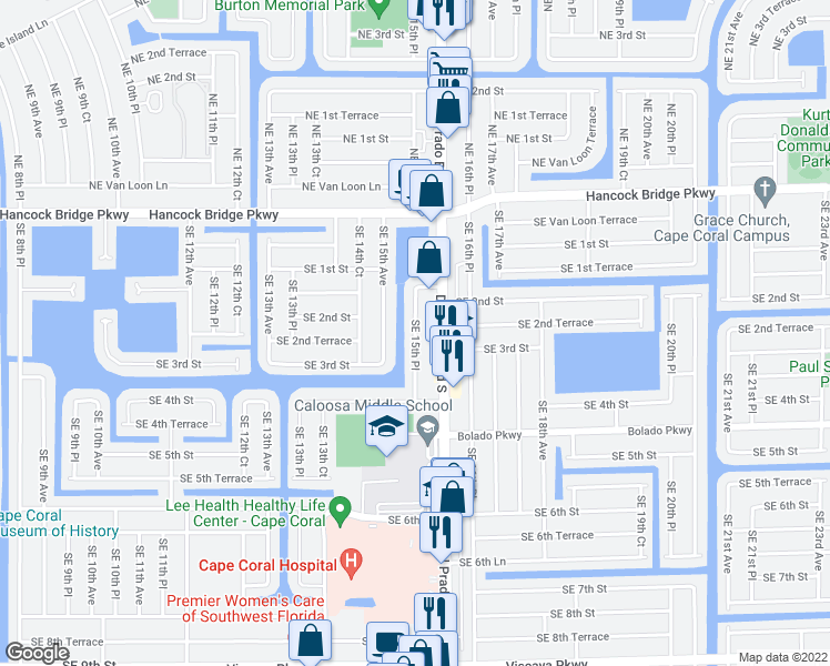 map of restaurants, bars, coffee shops, grocery stores, and more near 215 Southeast 15th Place in Cape Coral