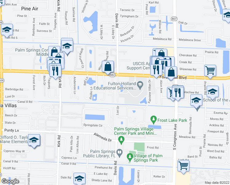 map of restaurants, bars, coffee shops, grocery stores, and more near 1902 Palm Acres Drive in West Palm Beach