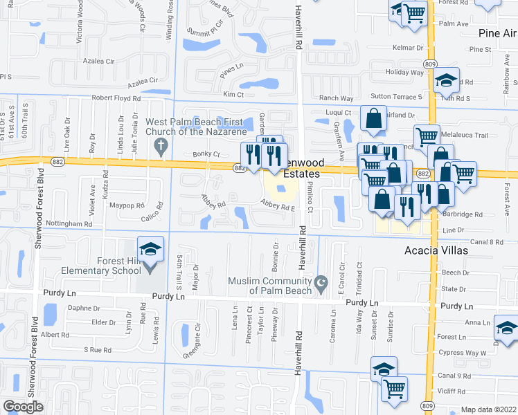 map of restaurants, bars, coffee shops, grocery stores, and more near 5203 Glencove Lane in West Palm Beach