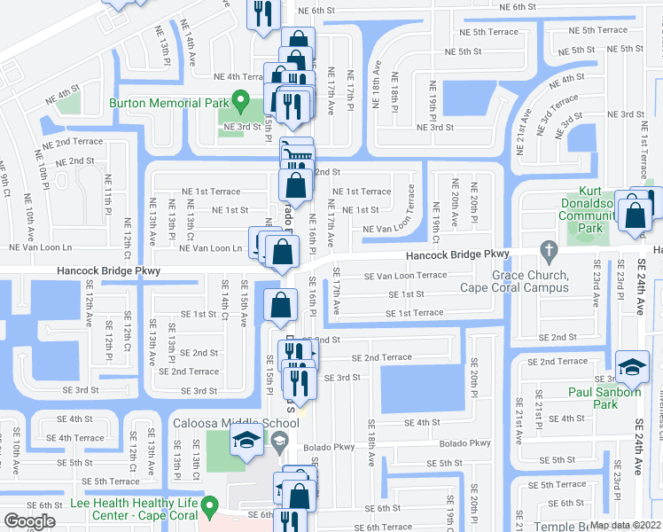 map of restaurants, bars, coffee shops, grocery stores, and more near 2 Southeast 17th Avenue in Cape Coral