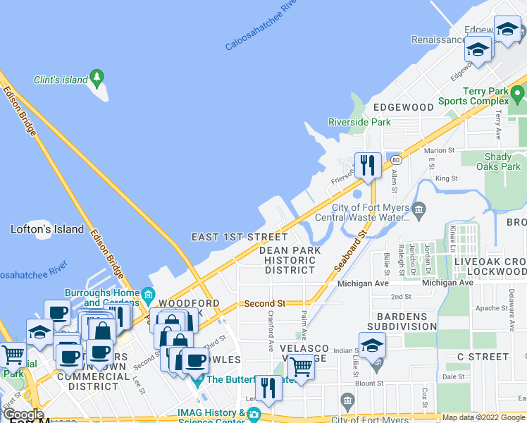 map of restaurants, bars, coffee shops, grocery stores, and more near 2731 First Street in Fort Myers