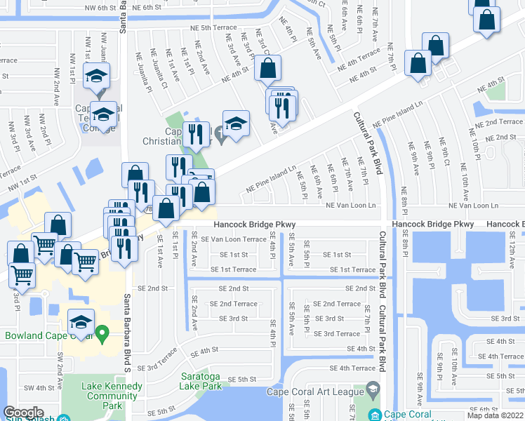 map of restaurants, bars, coffee shops, grocery stores, and more near 418 Northeast Van Loon Lane in Cape Coral