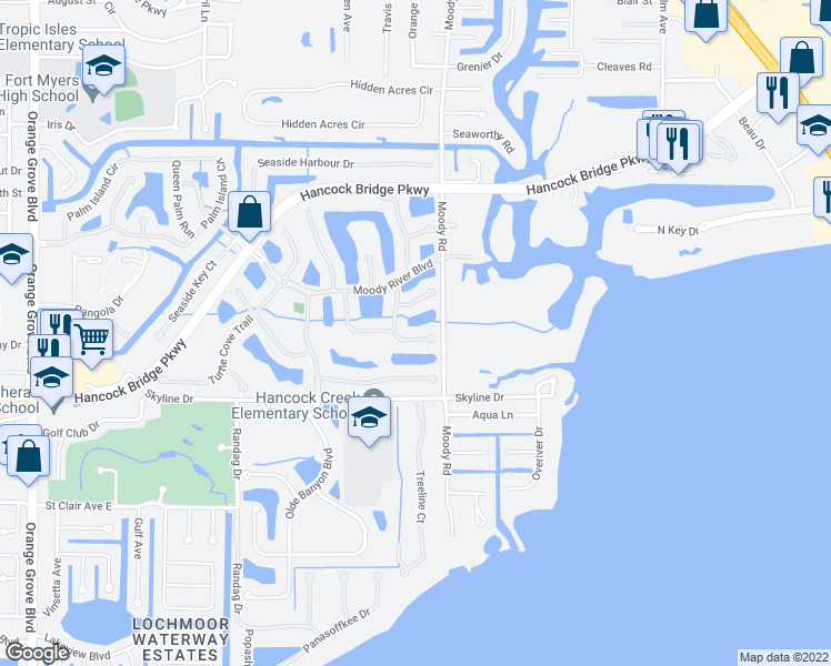 map of restaurants, bars, coffee shops, grocery stores, and more near 3171 Sea Trawler Bend in North Fort Myers