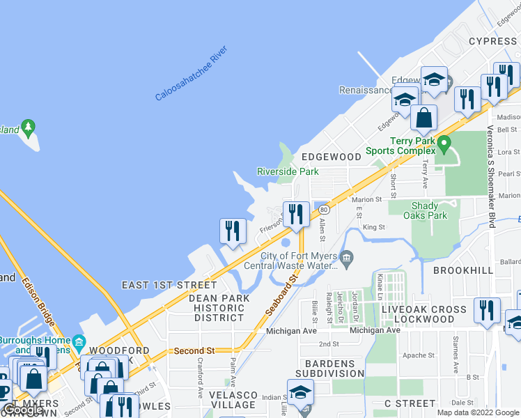 map of restaurants, bars, coffee shops, grocery stores, and more near 3000 Oasis Grand Boulevard in Fort Myers