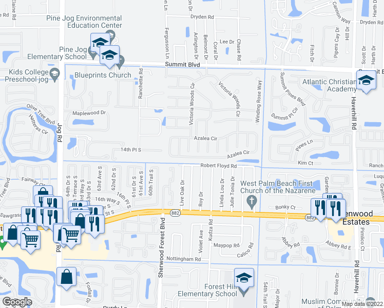 map of restaurants, bars, coffee shops, grocery stores, and more near 5949 Azalea Circle in West Palm Beach