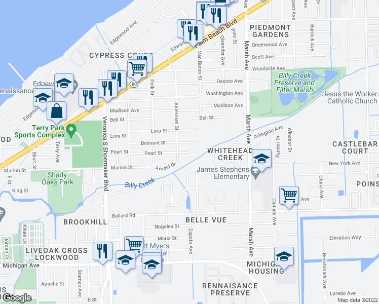 map of restaurants, bars, coffee shops, grocery stores, and more near 3900-3968 Pearl Street in Fort Myers