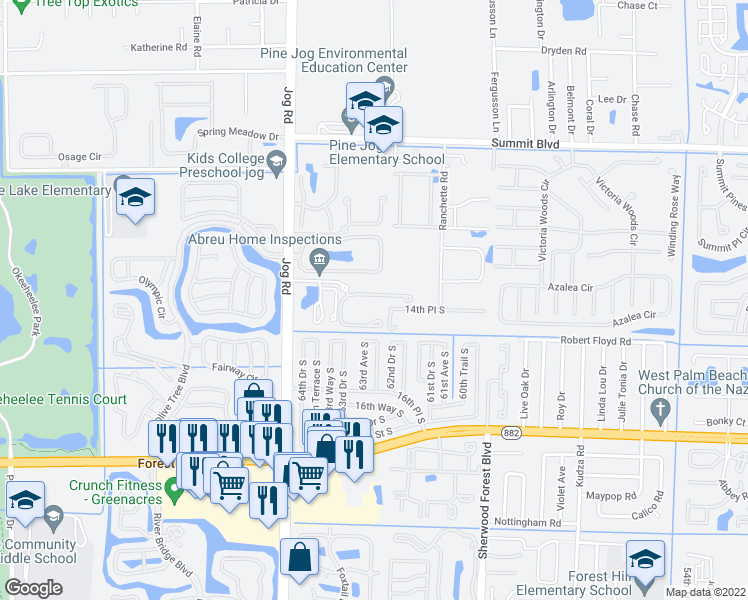 map of restaurants, bars, coffee shops, grocery stores, and more near 1111 Pinewood Lake Court in Greenacres