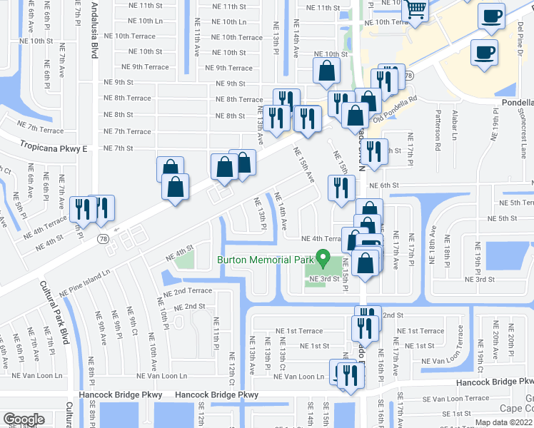 map of restaurants, bars, coffee shops, grocery stores, and more near 417 Northeast 13th Place in Cape Coral