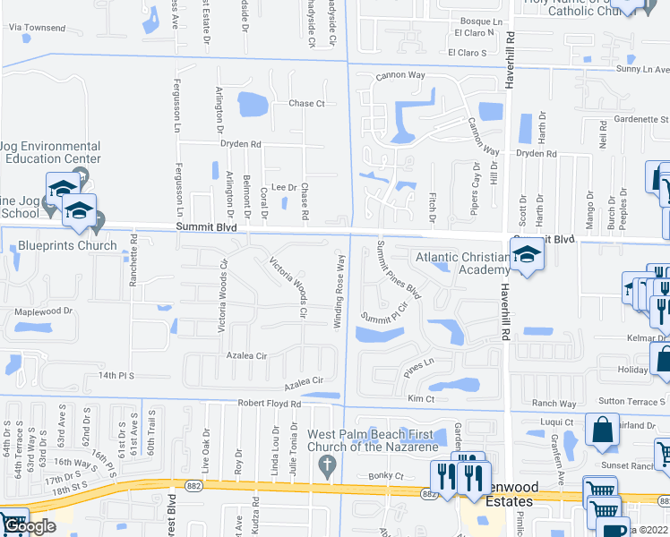 map of restaurants, bars, coffee shops, grocery stores, and more near 1107 Winding Rose Way in West Palm Beach
