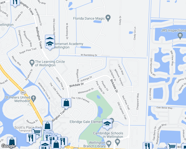 map of restaurants, bars, coffee shops, grocery stores, and more near 11577 Anhinga Drive in Wellington