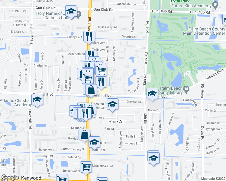 map of restaurants, bars, coffee shops, grocery stores, and more near 970 Summit Lake Drive in West Palm Beach