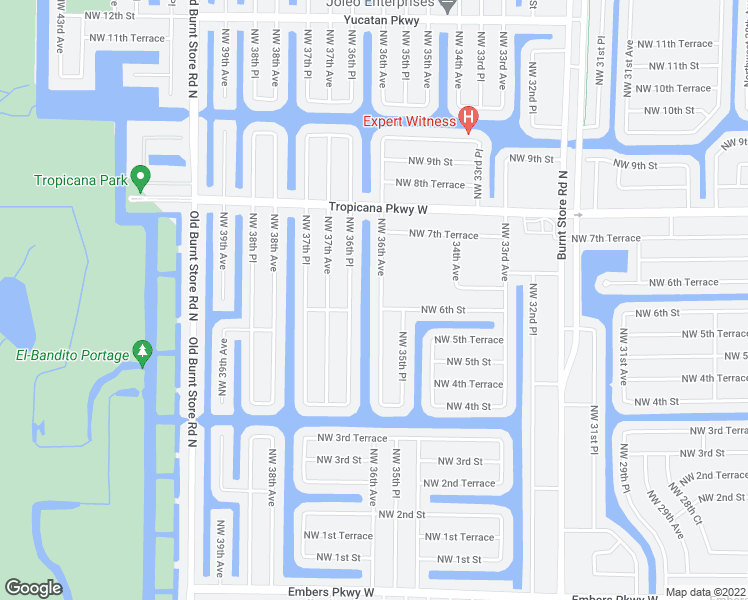 map of restaurants, bars, coffee shops, grocery stores, and more near 604 Northwest 36th Avenue in Cape Coral