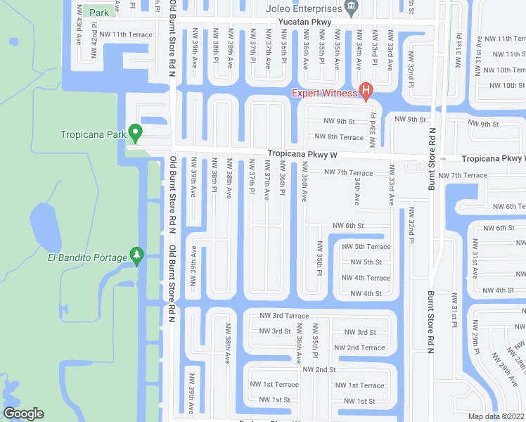 map of restaurants, bars, coffee shops, grocery stores, and more near 610 Northwest 37th Avenue in Cape Coral