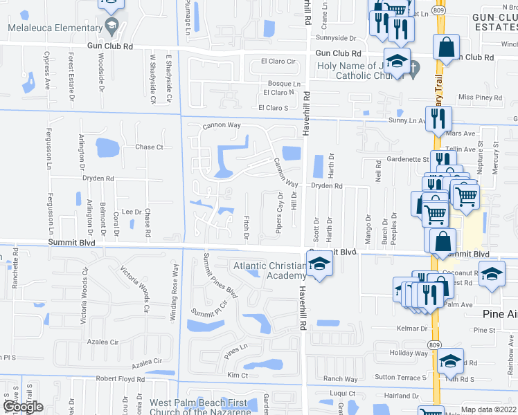 map of restaurants, bars, coffee shops, grocery stores, and more near 987 Pipers Cay Drive in West Palm Beach