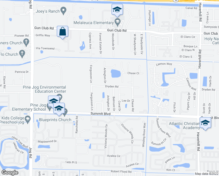 map of restaurants, bars, coffee shops, grocery stores, and more near 756 Arlington Drive in West Palm Beach