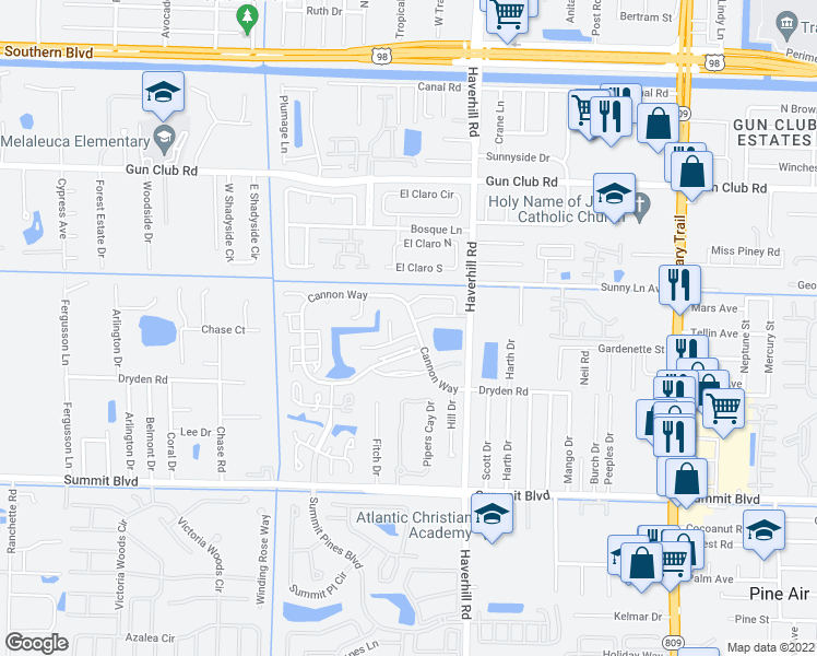 map of restaurants, bars, coffee shops, grocery stores, and more near 5161 Jaczko Lane in West Palm Beach
